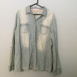 Distressed chambray top